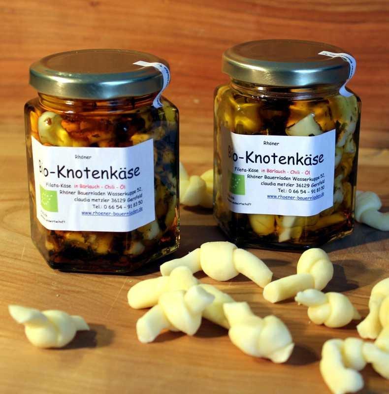 Knotenkäse in Bärlauch-Chili-Öl